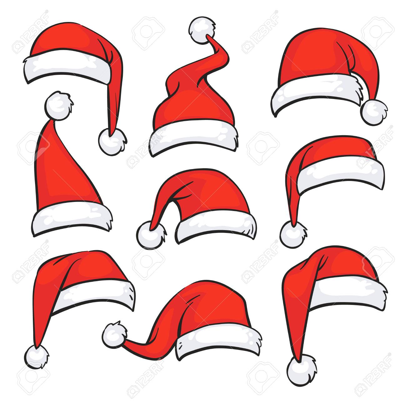 Santa red hats with white fur. Isolated Christmas holiday vector decoration. Christmas hat santa claus illustration - 87287668