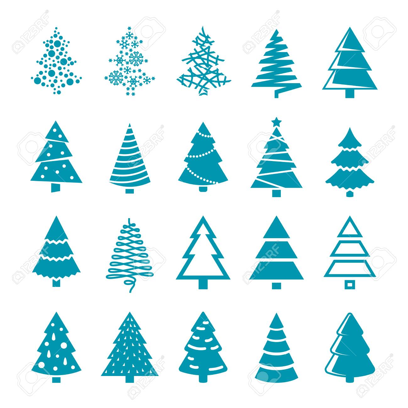 Silhouette Christmas Trees Vector Stylized Simple Symbols Royalty