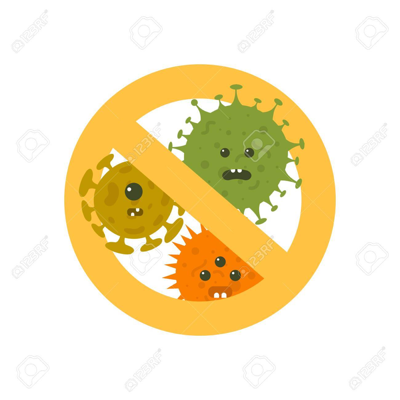 Stop microbes cartoon vector illustration. Anti bacteria symbol and protection infection - 87466985