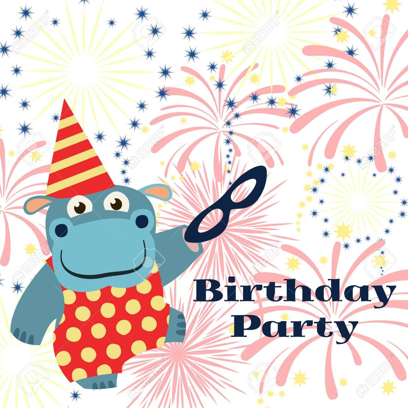 Fondo De Fiesta De Cumpleanos Con Dibujos Animados De Hipopotamos