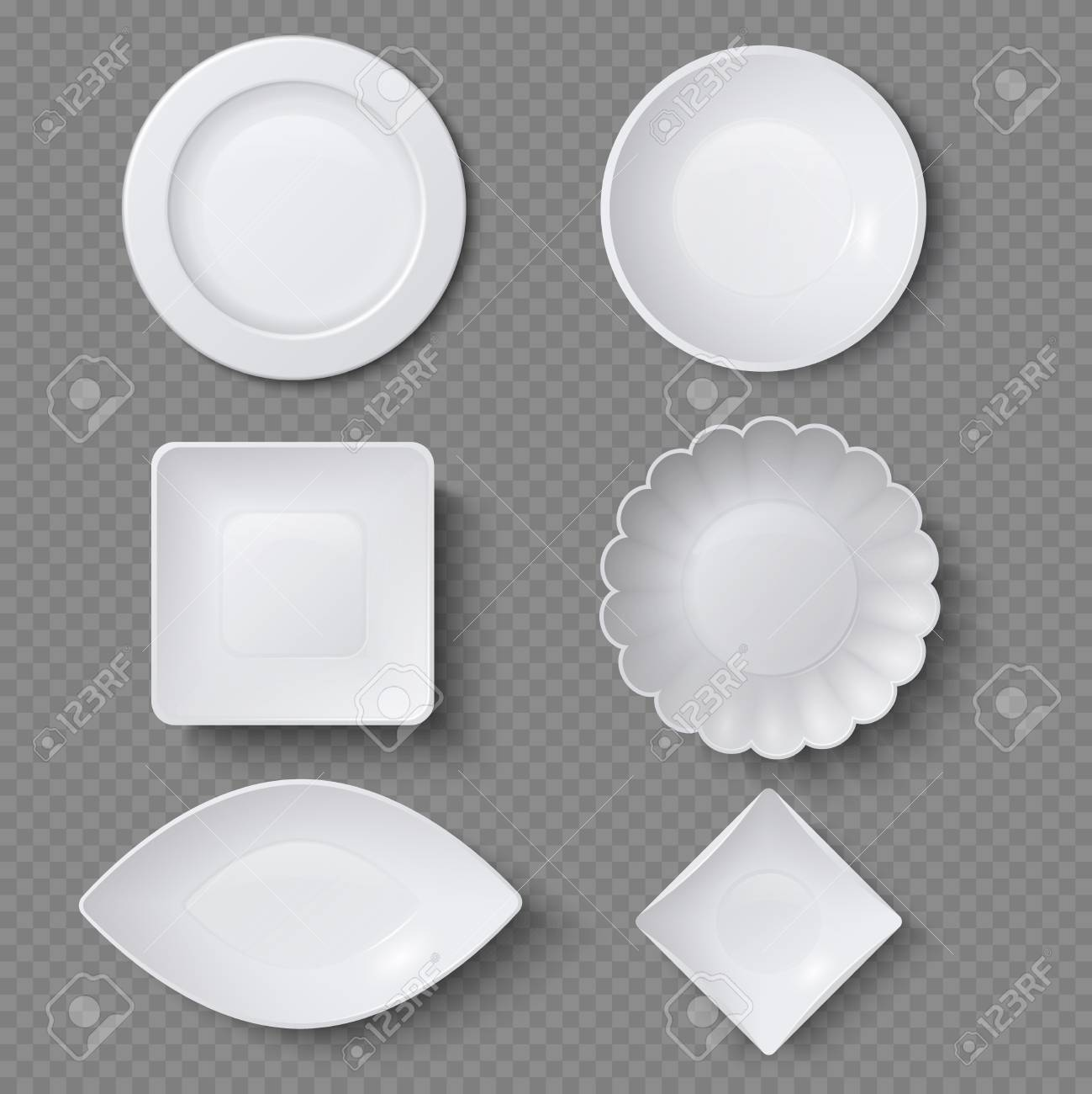 Different shapes of realistic food plates, dishes and bowls vector..