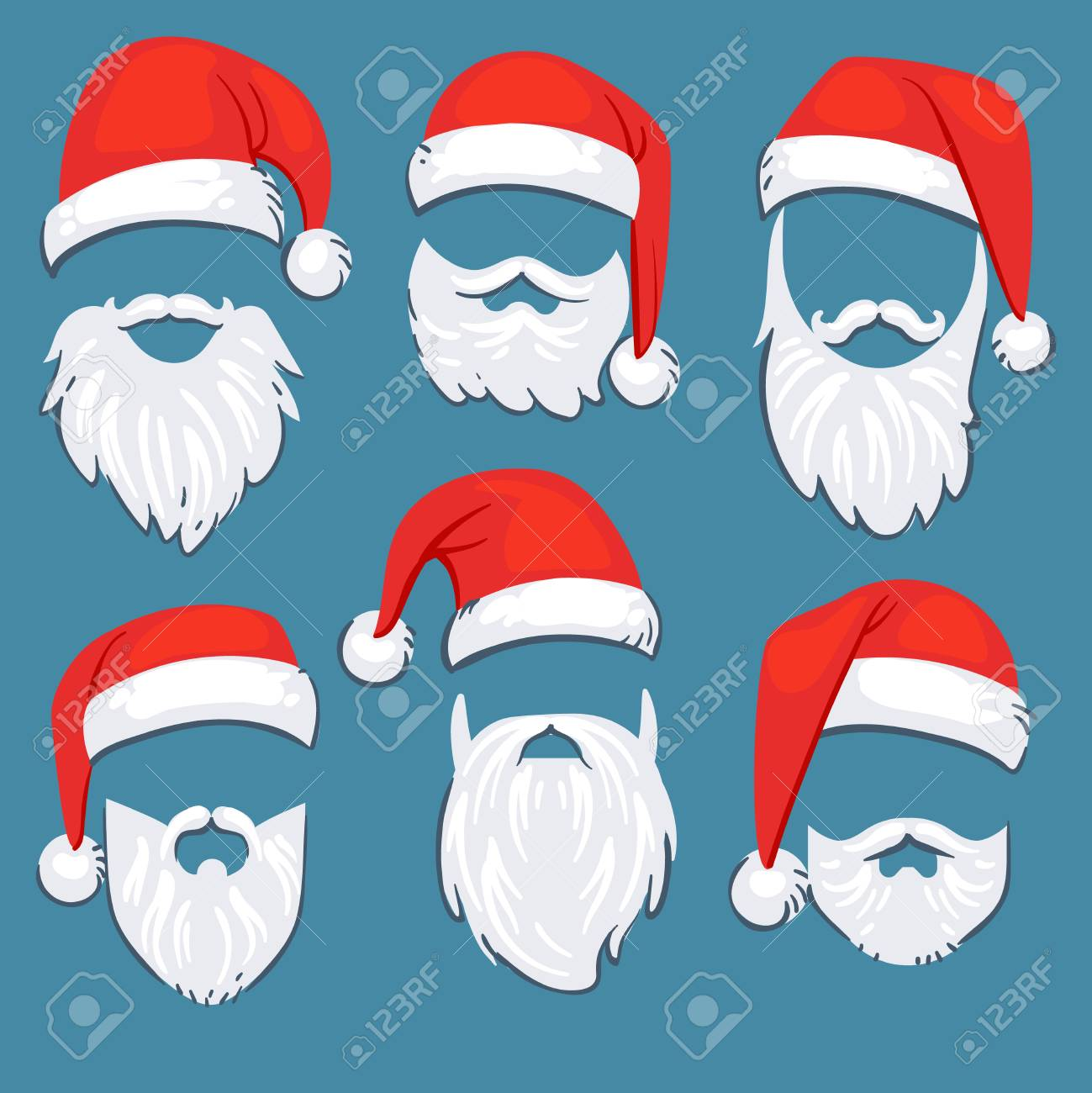 7be19b27b7c65 Christmas Santa Claus red hats with white moustache and beards vector set. Santa  claus mask