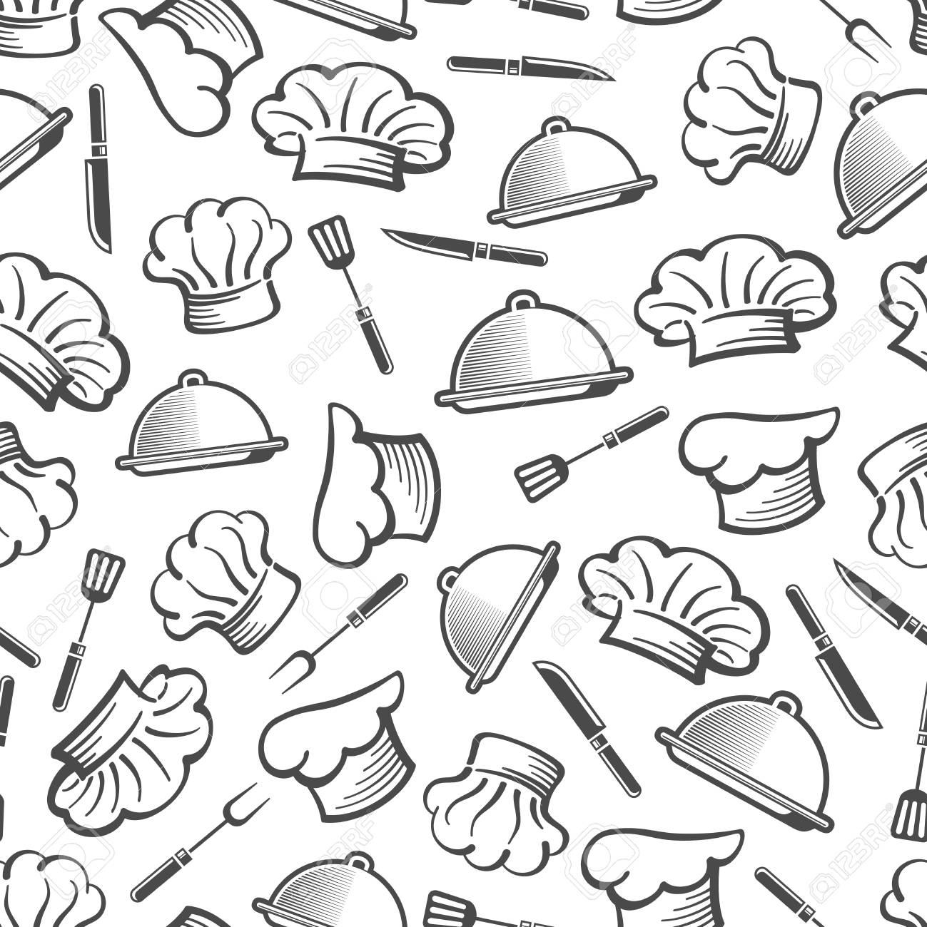 409cb6593f3 Kitchen seamless background pattern - chef hat dish and cutlery texture. Vector  illustration Stock Vector