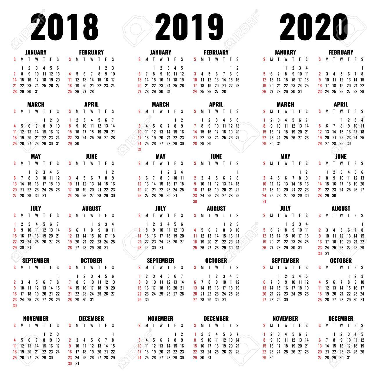 Calendario Mensile Settembre 2020.Modello Di Calendario Vettoriale 2018 2019 E Anni 2020 Calendario Dell Anno E Illustrazione Mensile Illustrazione