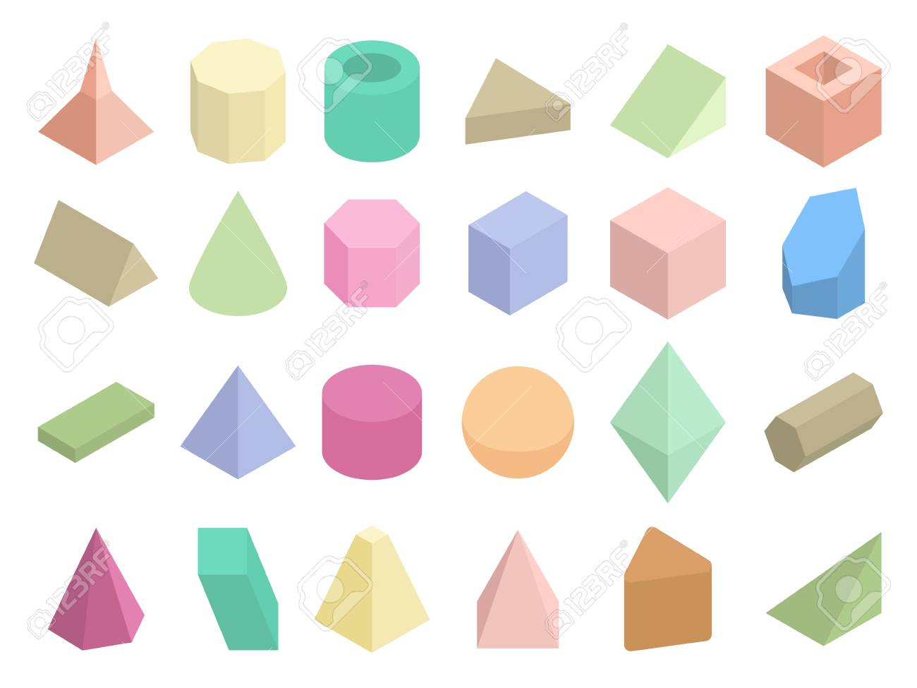 Isometric 3d Geometric Color Shapes Vector Set Isometric Figure