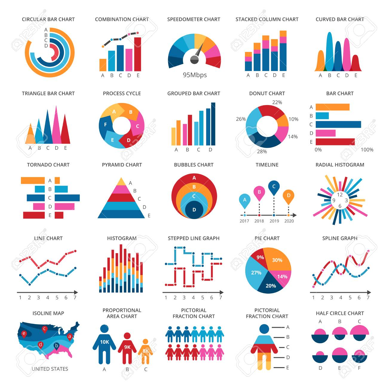 color finance data chart vector icons statistics colorful presentation Icon Parts Diagram