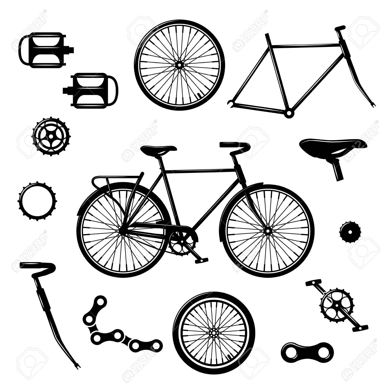 Bike parts  Bicycle equipment and components isolated vector