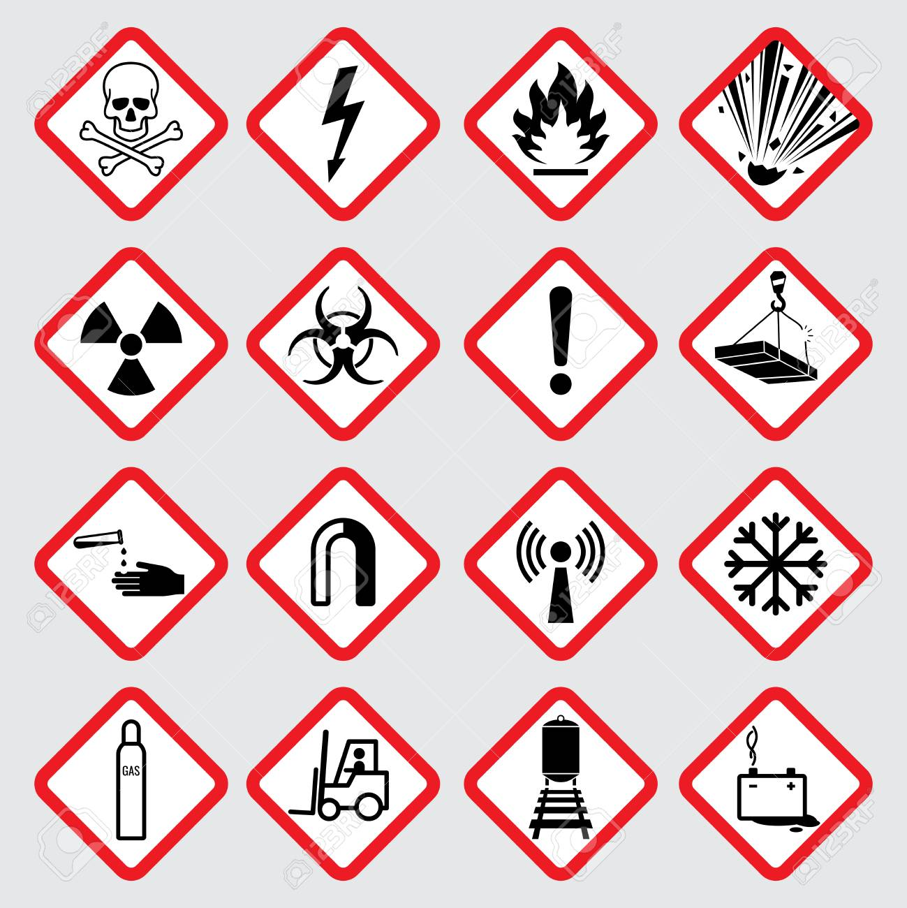 Warning hazard vector pictograms illustration of danger caution illustration of danger caution symbol toxic and poison stock vector biocorpaavc Gallery