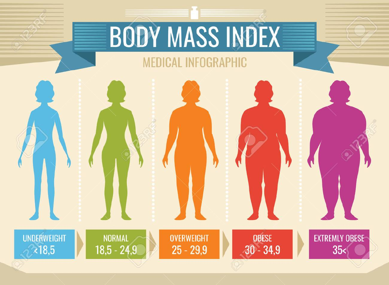 Woman body mass index vector medical infographic - 89689280