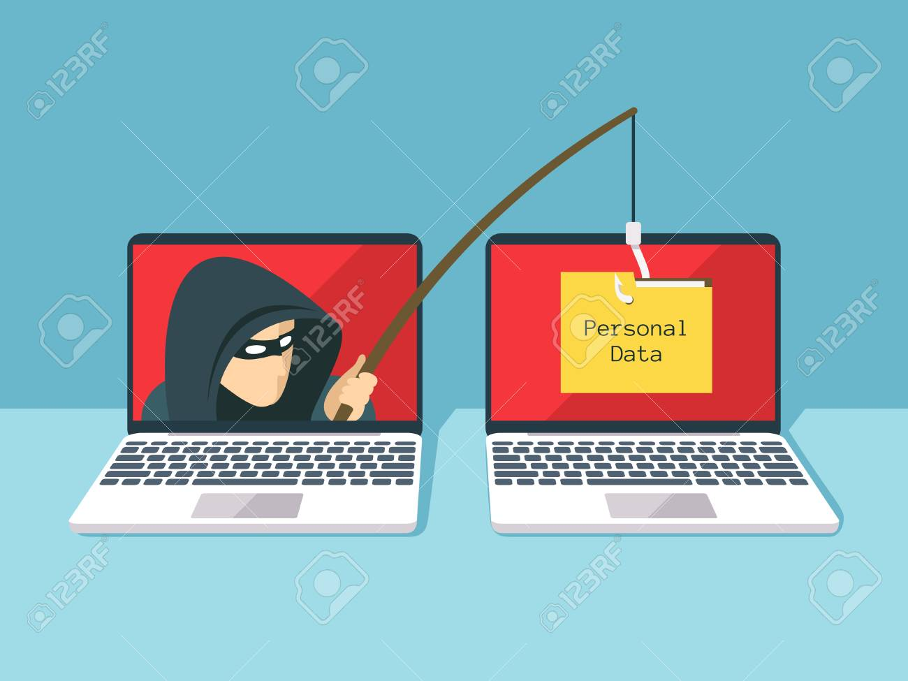 Phishing scam, hacker attack and web security vector concept - 89939867