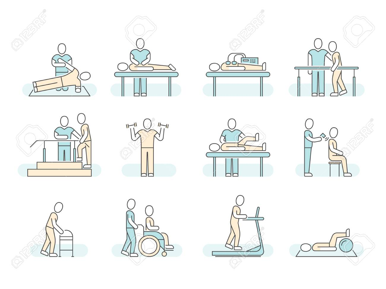Massage therapy spa physiotherapy vector line medical icons. Therapeutic symbols - 90517599