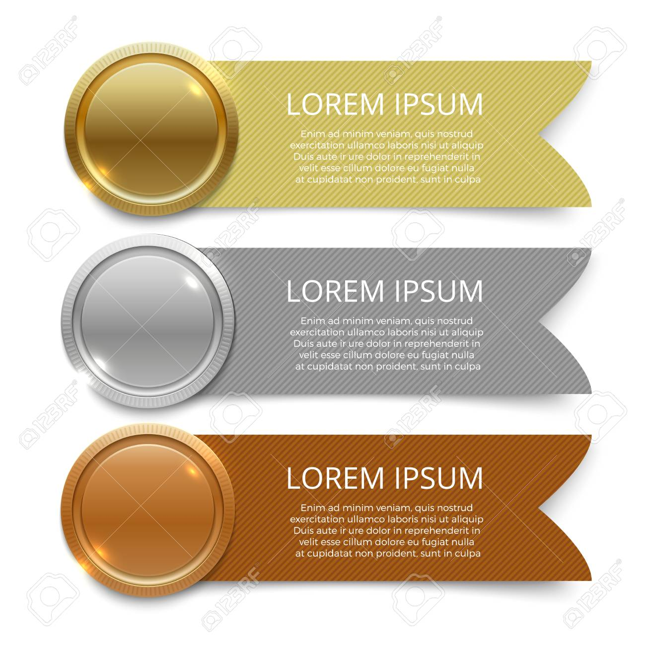 Gold, silver and bronze medals banners design - 92410341