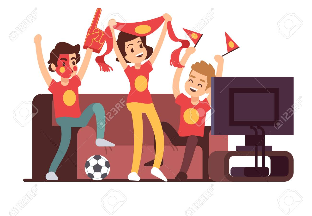 Soccer Fans And Friends Watching Tv On Couch Football Match