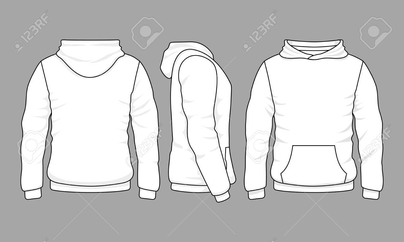 Weiße Herren Sweatshirt Vorlage Mit Probe Text Vorder Und