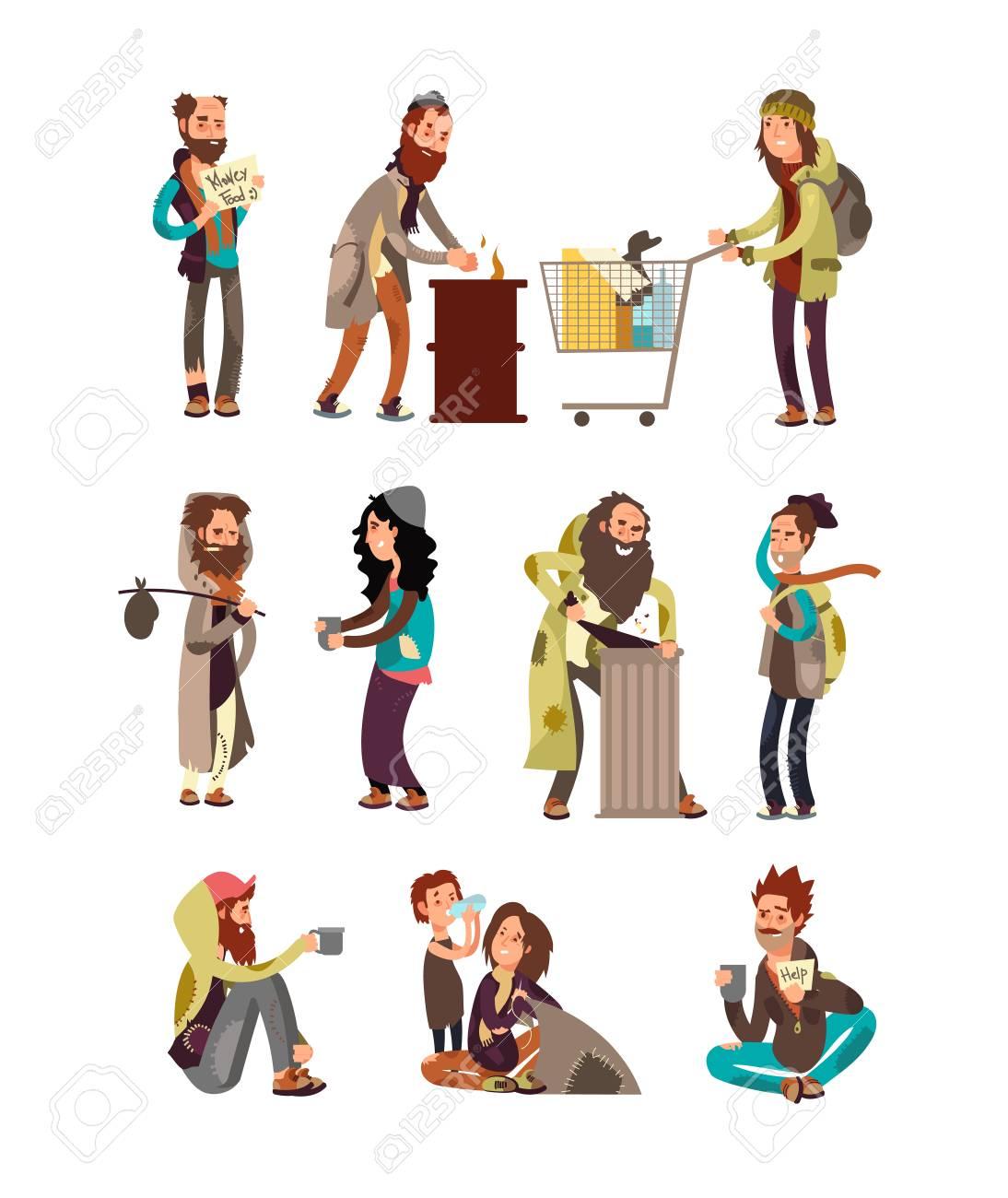 Poor unhappy homeless cartoon people needing financial help. Vector characters set - 93451398
