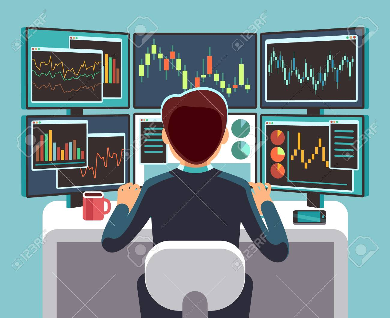 Stock market trader looking at multiple computer screens with financial and market charts. Business analysis vector concept. - 93882415