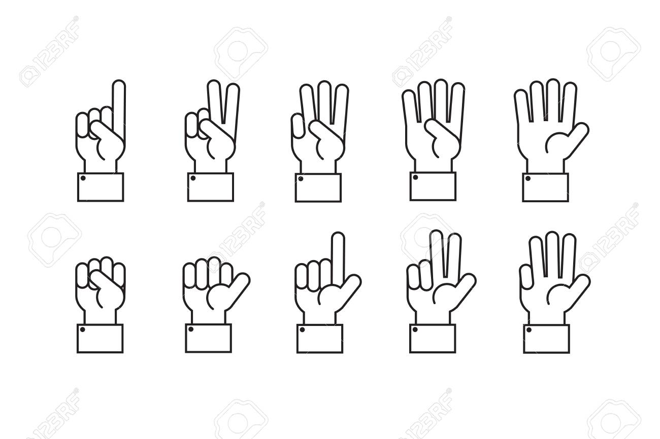 Hand with counting fingers vector line symbols. - 93972671