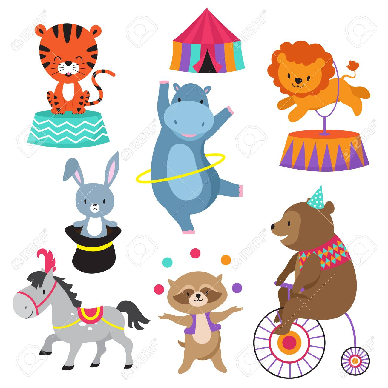 Cartoon Circus Animals For Child Birthday Card Vector Animal In Happy Elephant And