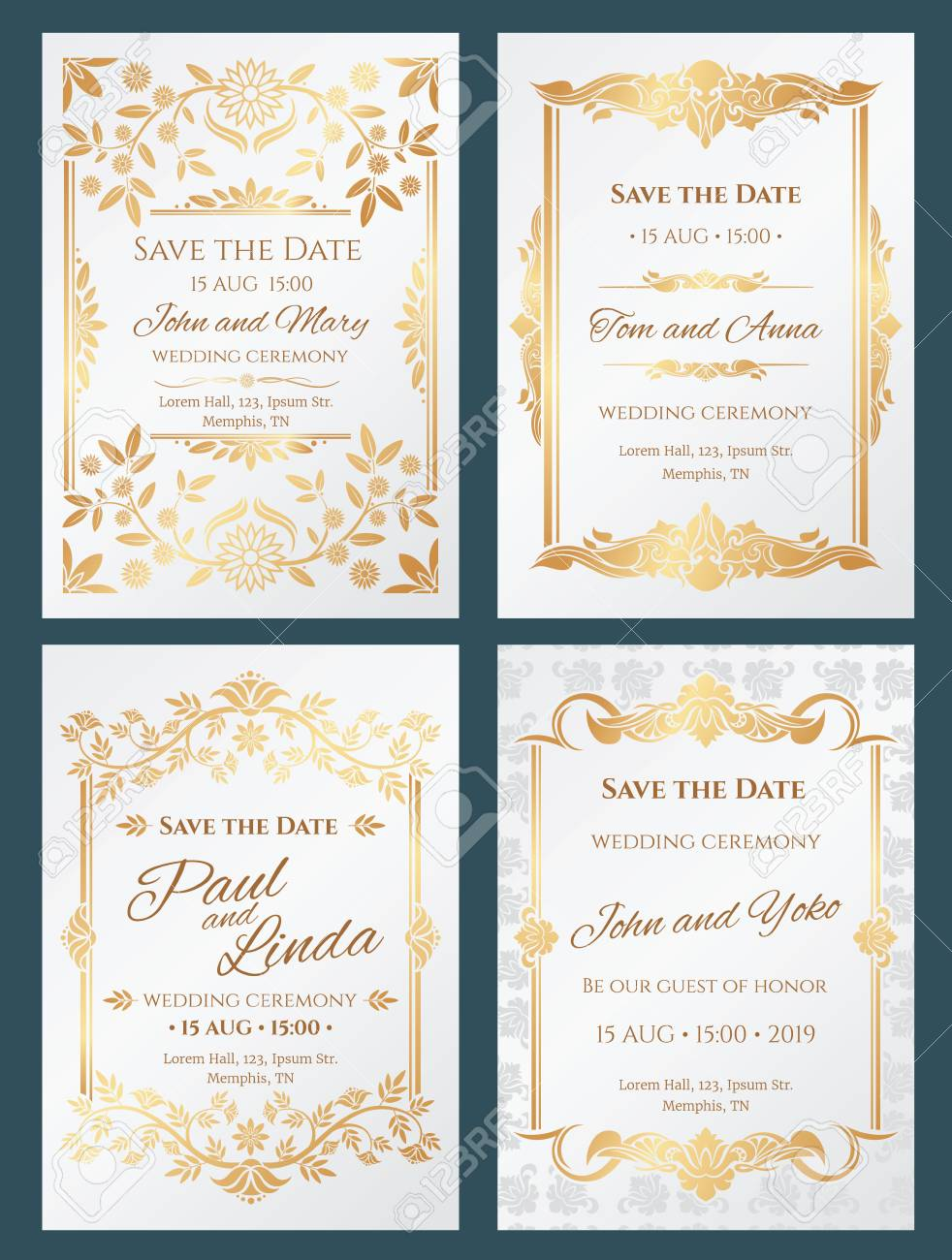 Save the date luxury vector wedding invitation cards with gold..