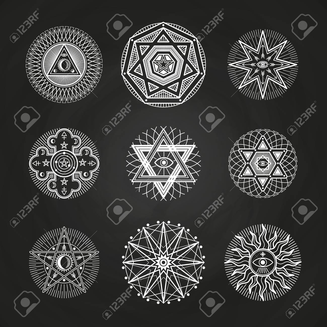 White Mystery Occult Alchemy Mystical Esoteric Symbols On