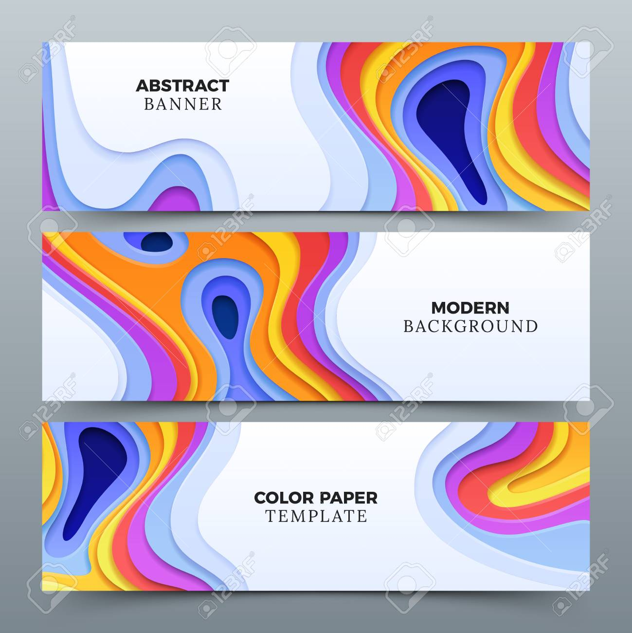 Fashion Abstract Advertising Vector Banners With 3d Paper Cutting Curved Shapes Stock