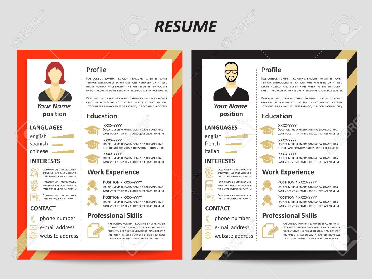 Modern Style Male And Female Resume Templates With Flat Elements