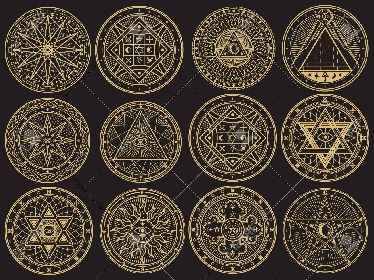 Golden mystery, witchcraft, occult, alchemy, mystical esoteric symbols - 94907048