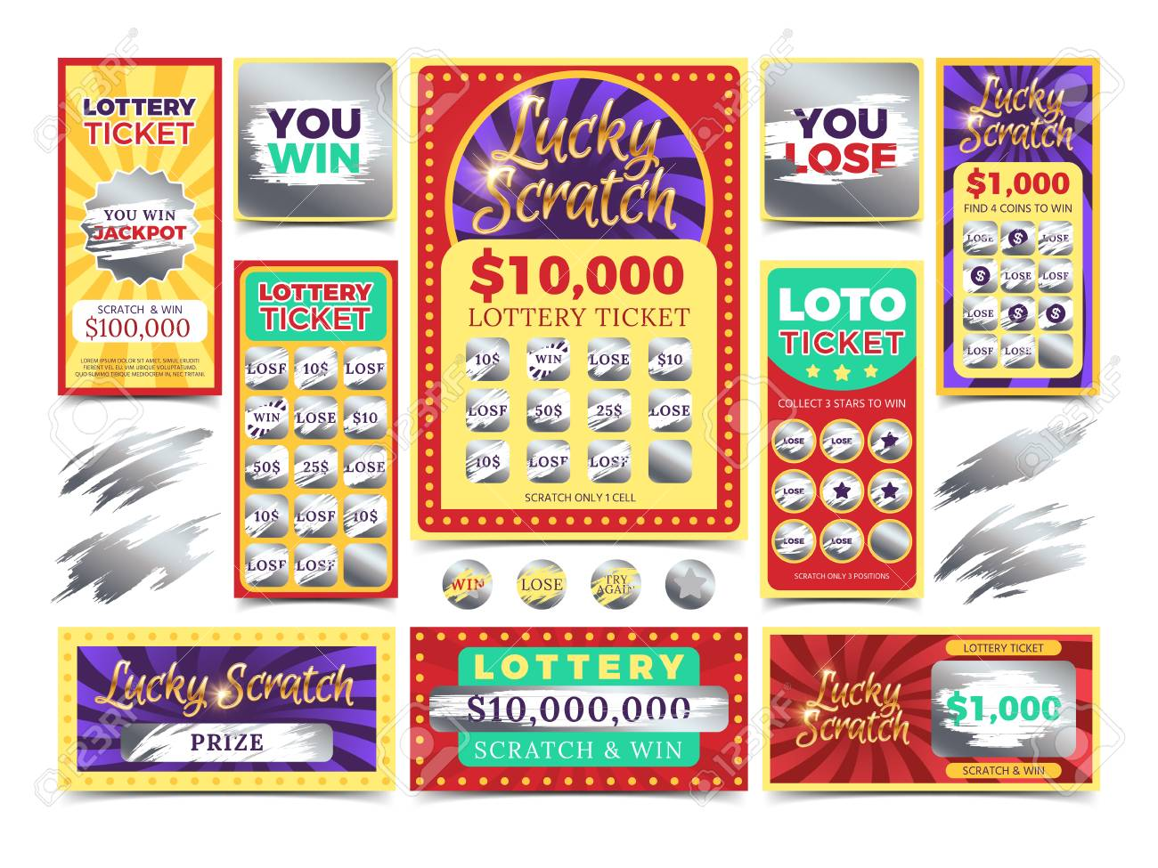 Winning scratching lottery vector tickets  Win ticket lottery,