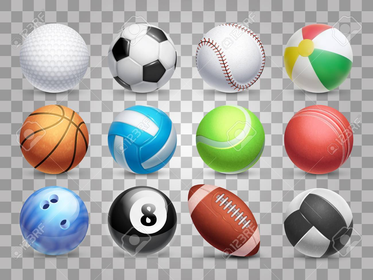Realistic Sports Balls Vector Big Set Isolated On Transparent Royalty Free Cliparts Vectors And Stock Illustration Image 95308675