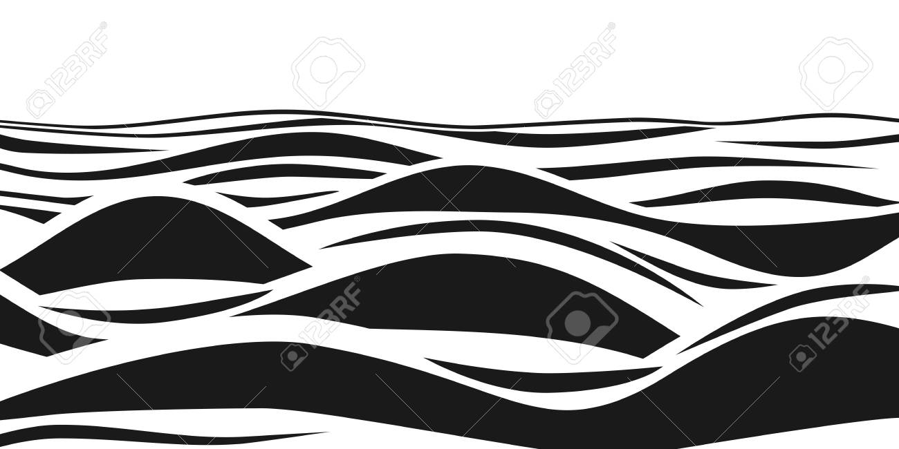 Abstract Black And White Striped 3d Waves Ocean Wave Art Pattern Vector Optical Illusion Royalty Free Cliparts Vectors And Stock Illustration Image 95547068