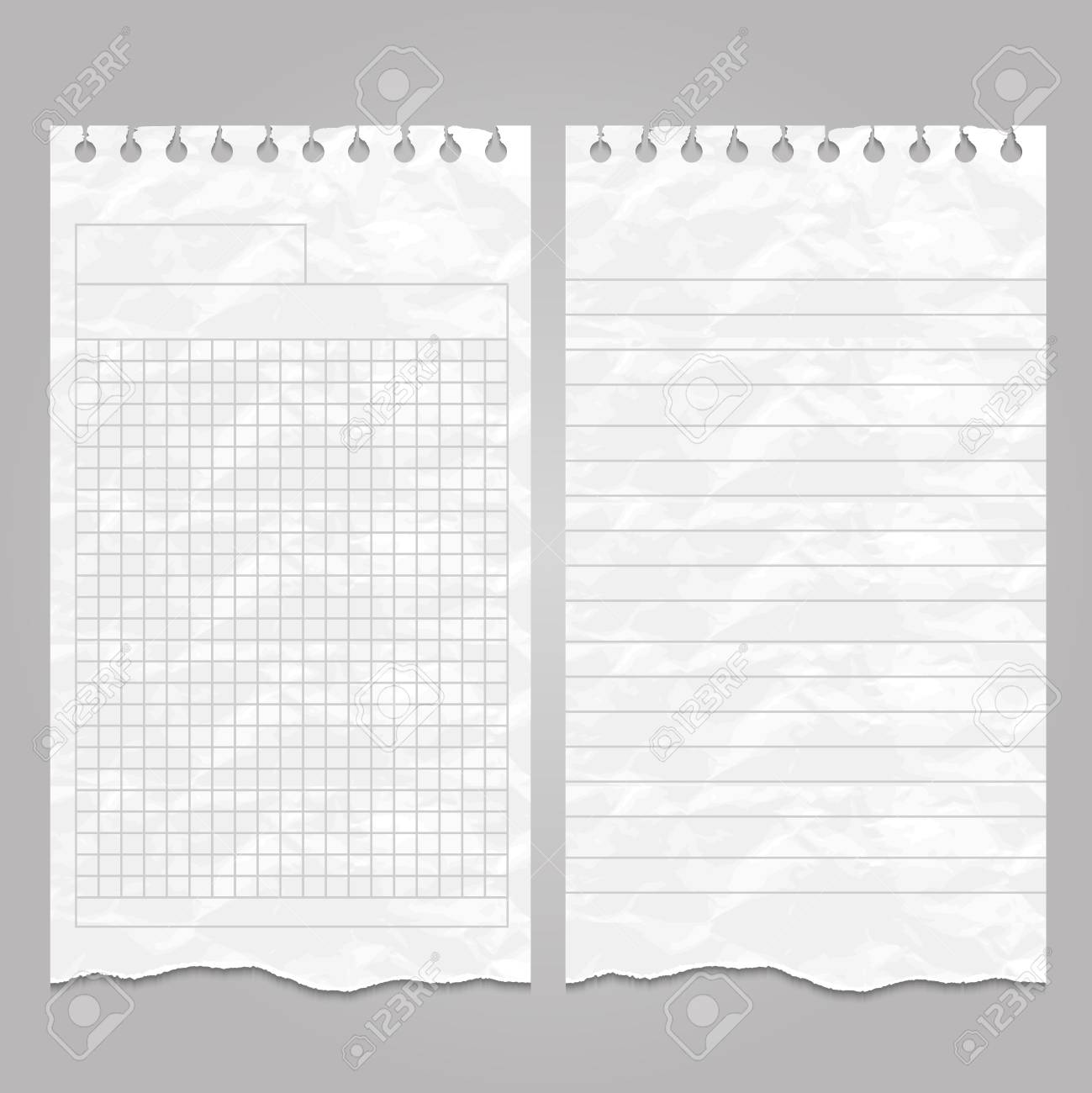vector wrinkled ripped lined page templates for notes or memo