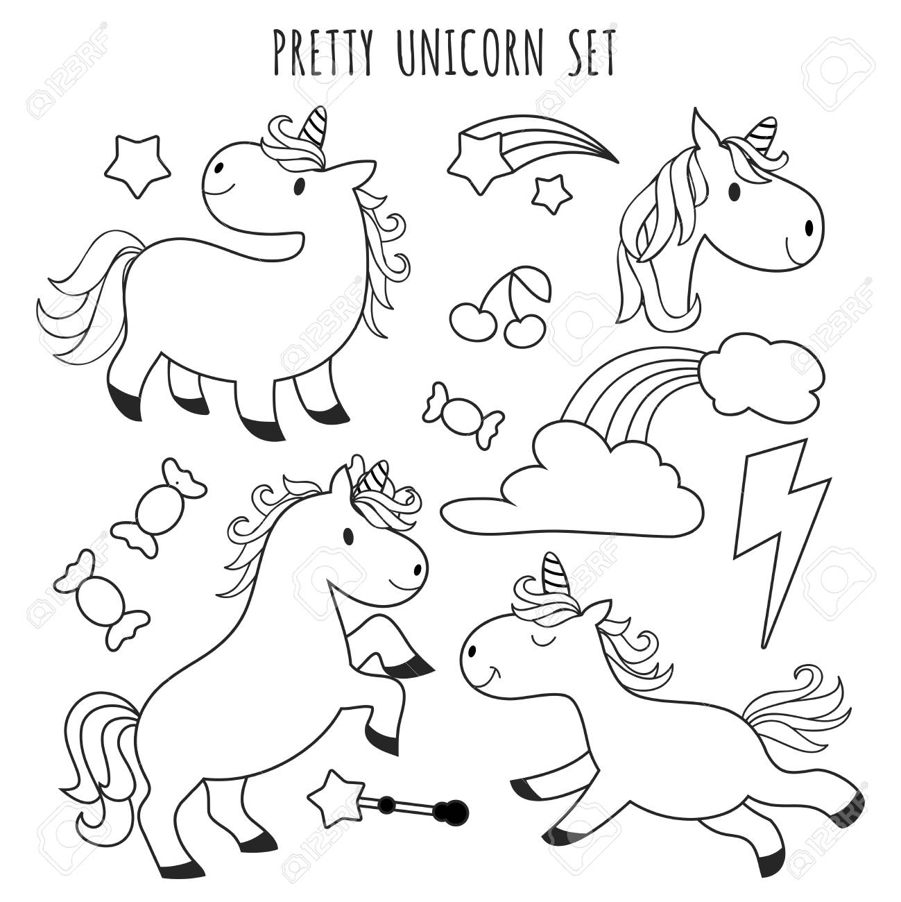 Kids coloring page unicorn set for coloring book stock vector 97310327