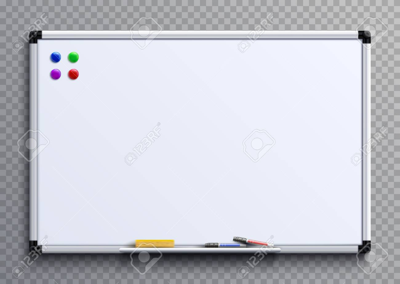 Empty whiteboard with marker pens and magnets. Business presentation office white board isolated vector mockup - 97693190
