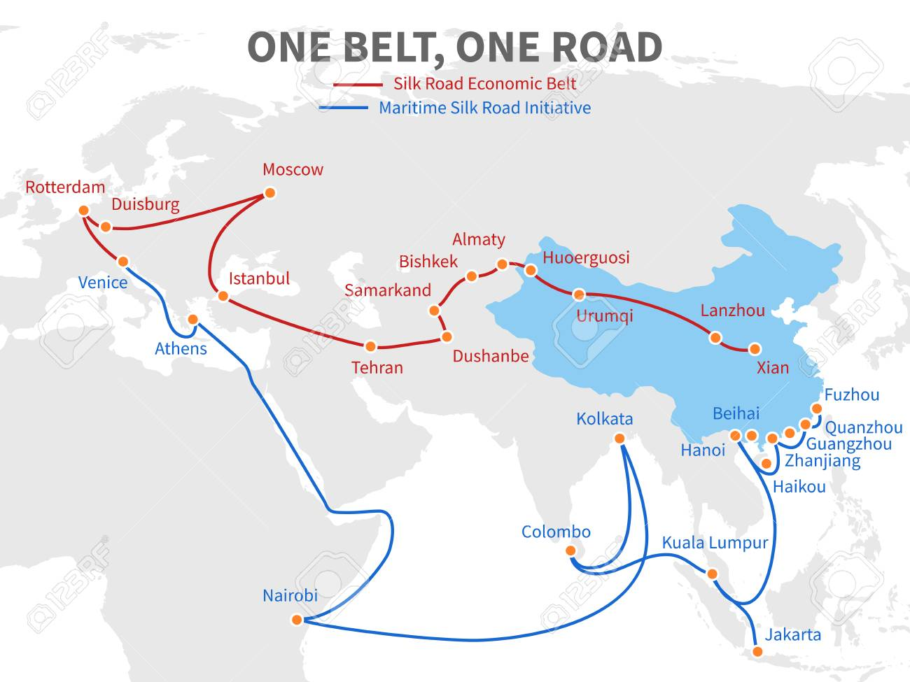 One belt - one road Chinese modern silk road. Economic transport way on world map vector illustration - 98137561