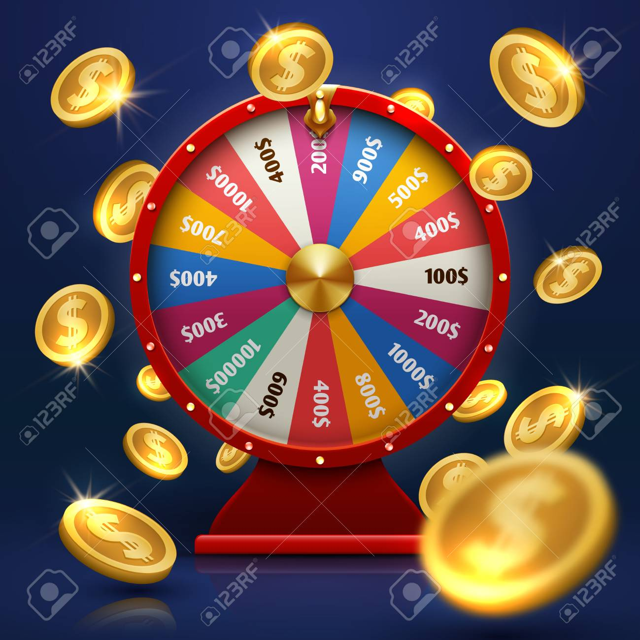 Fortune wheel and gold coins. Lucky chance in game vector background - 97693474