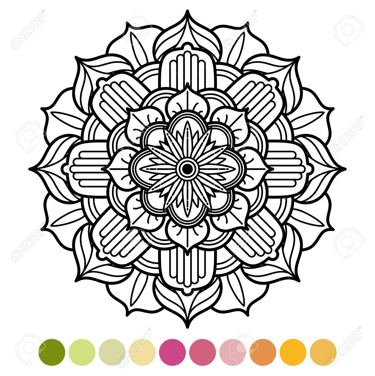 Anti Stress Mandala Coloring Page With Colors Sample Stock Vector