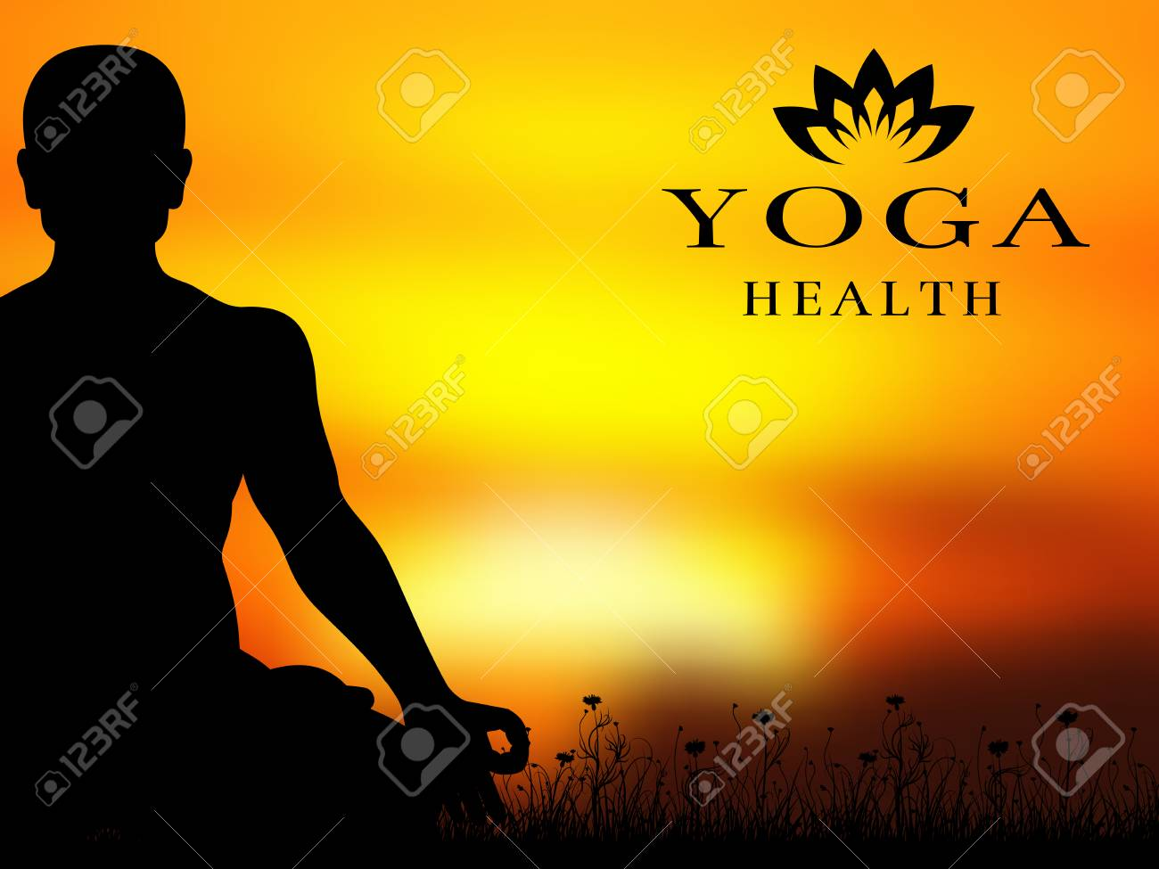 Yoga Meditation Silhouette Vector Background Banner And Poster