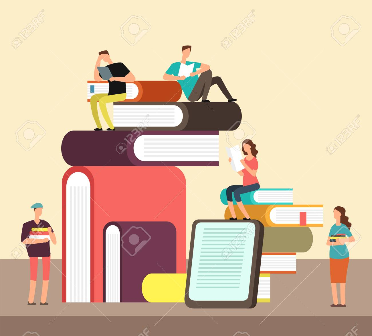 Man and woman reading books. People and book creative idea cartoon flat concept. Book festival vector poster - 98620499