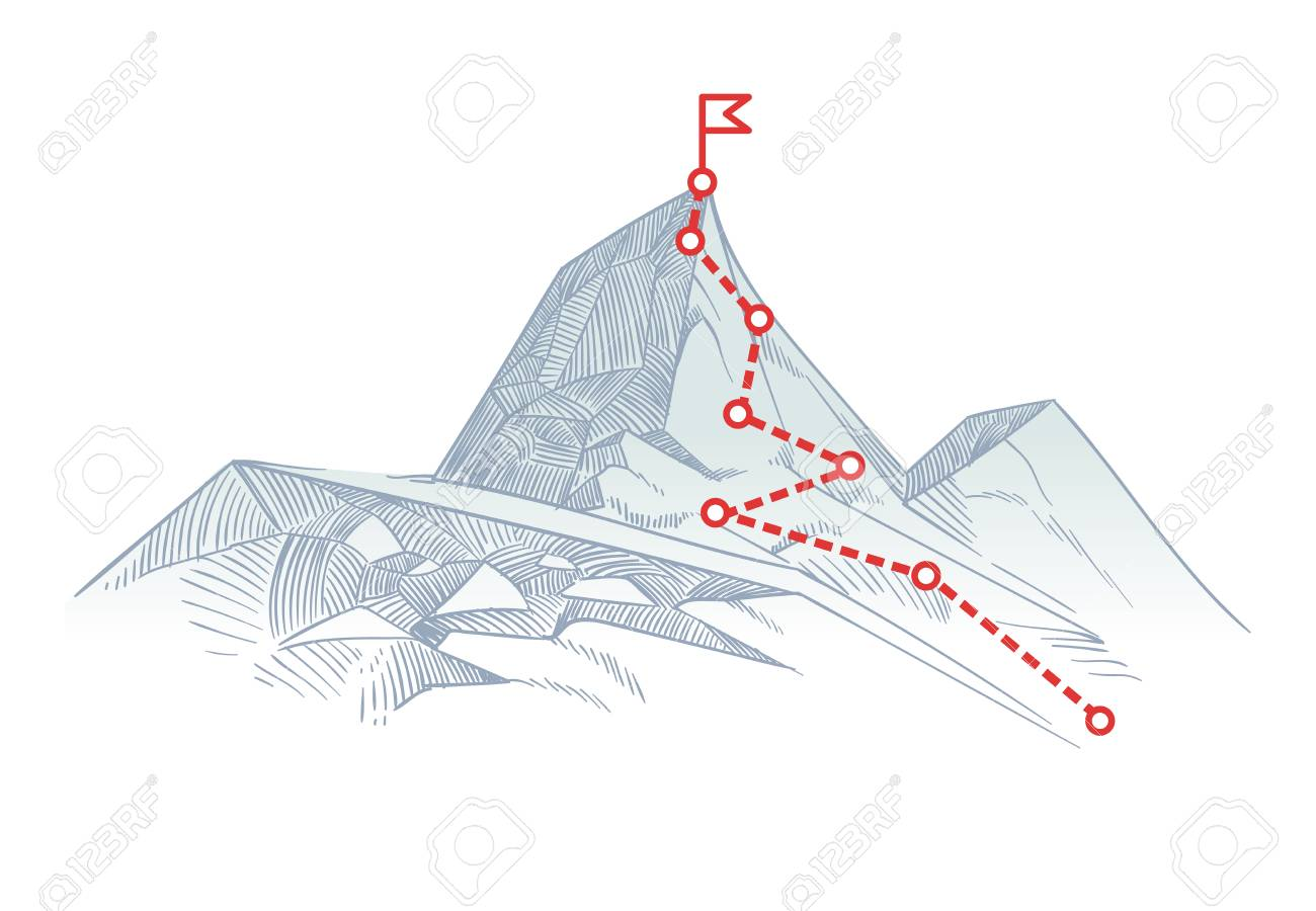 Mountain climbing route to peak. Business journey path in progress to success vector concept - 98558755
