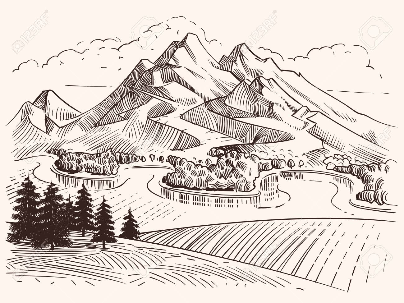 Pencil drawing mountain landscape cartoon sketch mountains and fir trees vector illustration landscape sketch