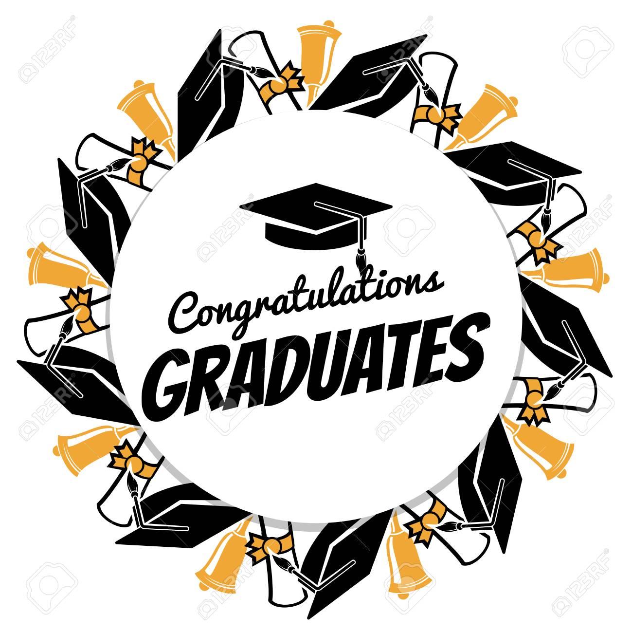 Congrats Graduates Round Banner With Students Accessorises Graduation Celebration Graduate Ceremony