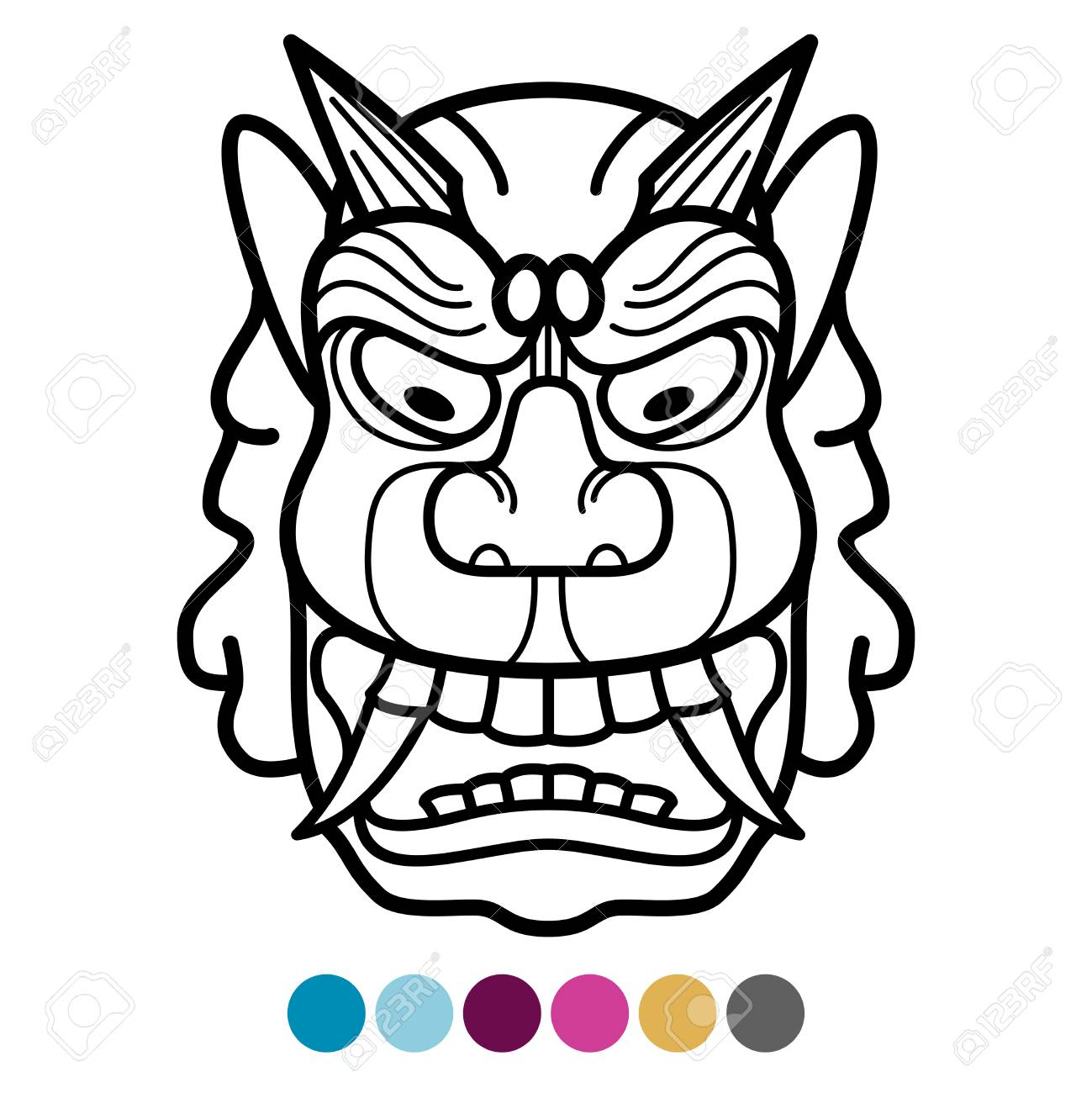 Angry African Traditional Mask Coloring Page Mexican Tribal Vector Illustration Stock