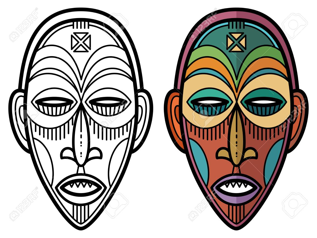 Indian Aztec African Mexican Historic Tribal Mask Coloring