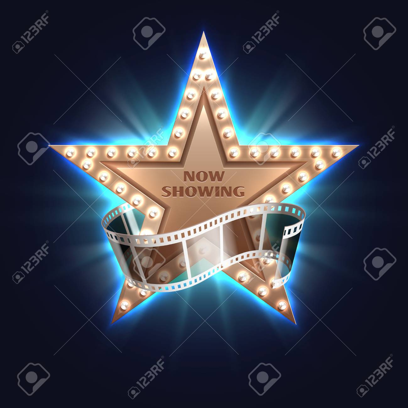 Now Showing Movie Vector Background With Film And Bright Star