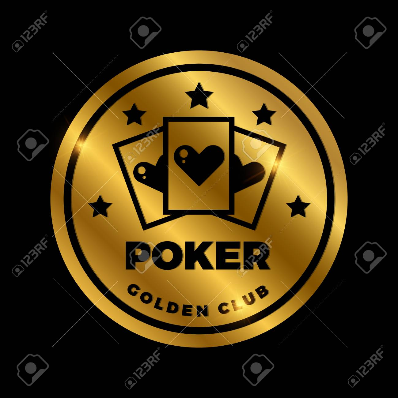 Shine Golden Poker Label Design Golden Vector Casino Icon Illustration Royalty Free Cliparts Vectors And Stock Illustration Image 101060485