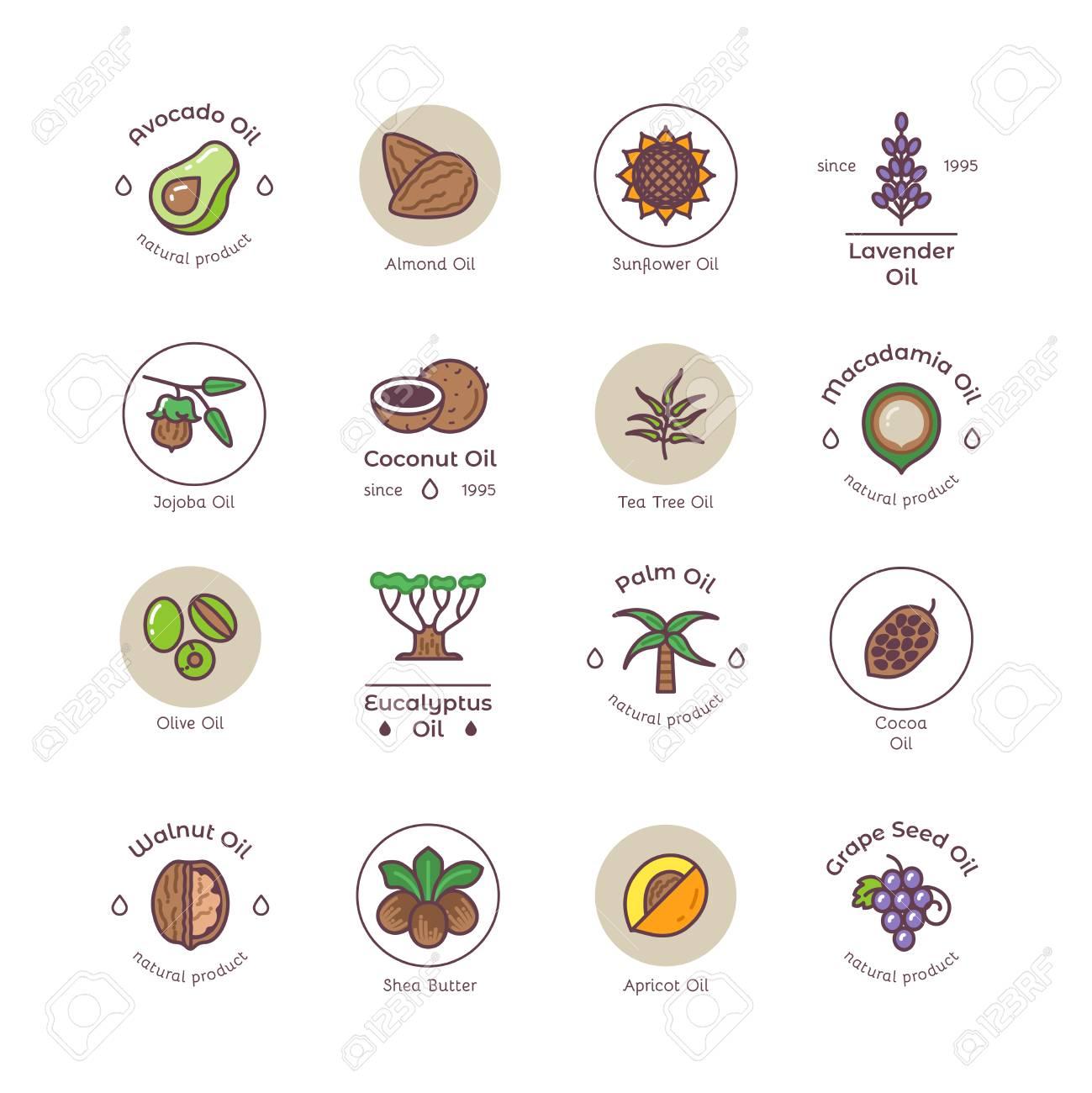 Healthy bio cosmetics oil linear vector logos - 102095327