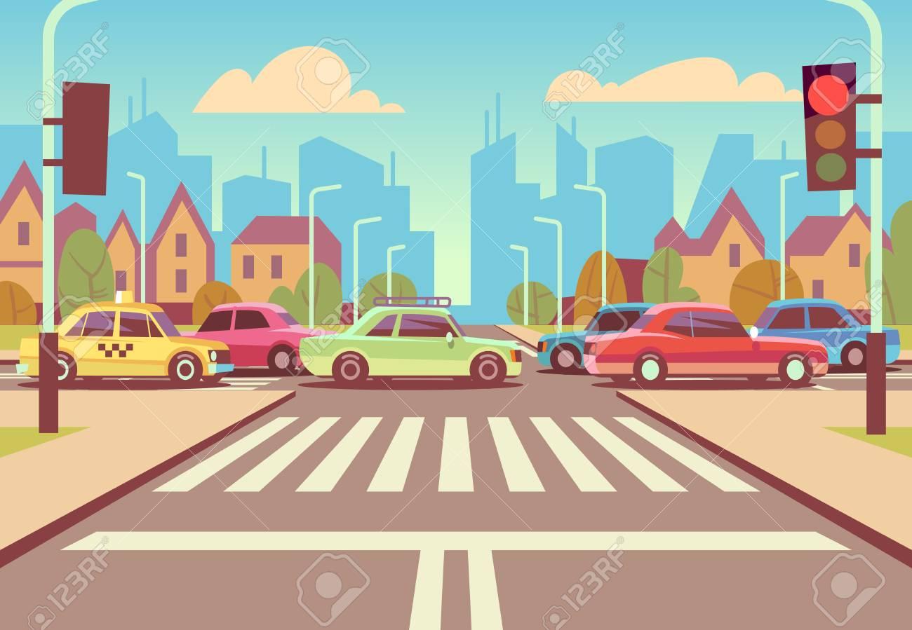 Cartoon city crossroads with cars in traffic jam, sidewalk, crosswalk and urban landscape vector illustration. - 101246540