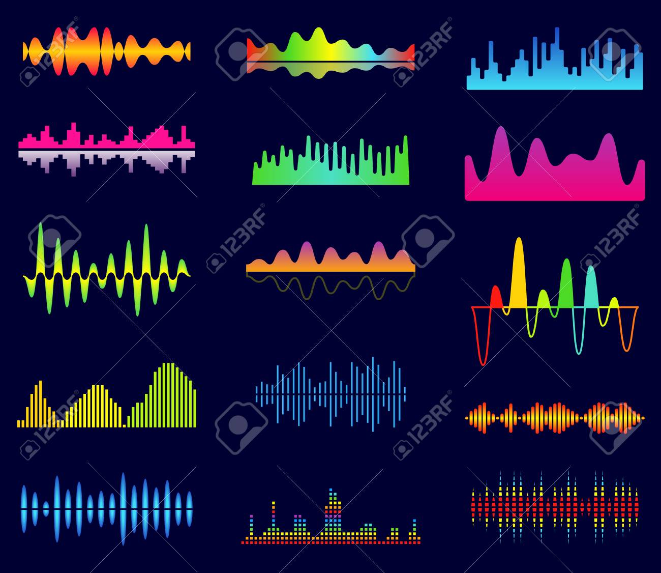 Music equalizer, audio analog waves, studio sound frequency,