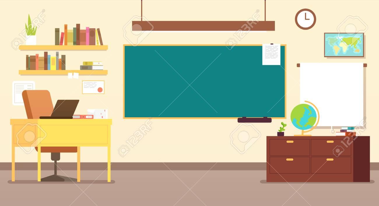Nobody school classroom interior with teachers desk and blackboard vector illustration - 102791147