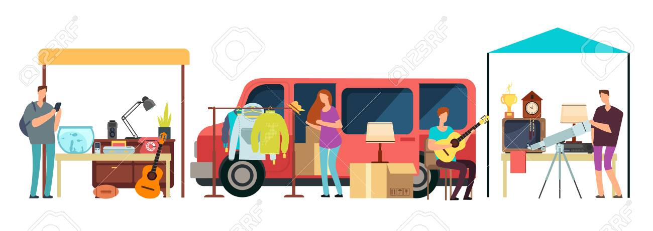 People selling, shopping second hand clothes, vintage goods in mini tracks at flea market. Bazaar with retro things vector illustration - 102791148